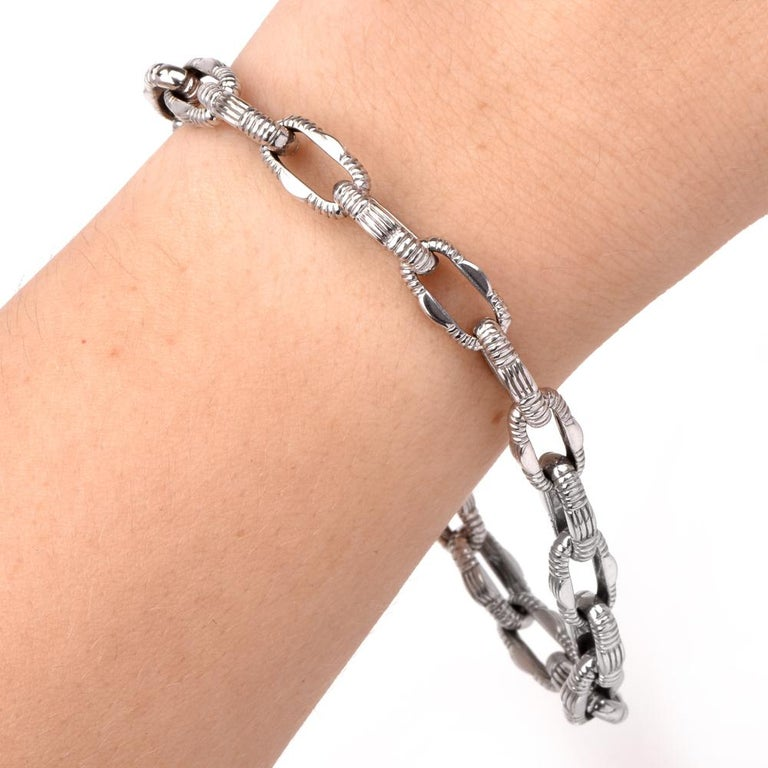 Artisan Roberto Coin Diamond Appassionata Gold Chain Link Bracelet For Sale