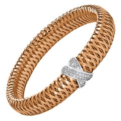 Roberto Coin Diamond Bangle Stretchable Bracelet 18 Karat Rose Gold Estate