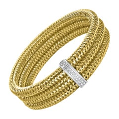 Roberto Coin Diamond Bangle Three-Row Bracelet in 18 Karat Yellow Gold Estate