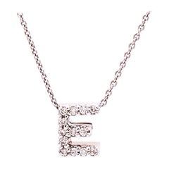Roberto Coin Diamond Letter E with 18 Karat Chain, Tiny Treasures