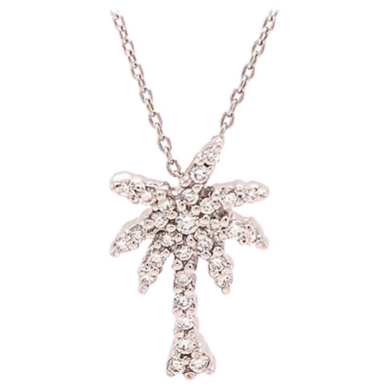 Roberto Coin Diamond Palm Tree 18 Karat Pendant with Chain, Tiny Treasures