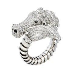 Roberto Coin Diamond Pave 18K White Gold Horse Ring Size 54