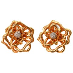 Roberto Coin Diamond Rose Gold Flower Earrings