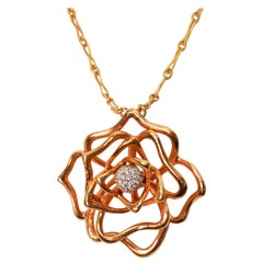 Roberto Coin Diamond Rose Gold Flower Necklace