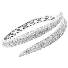 Roberto Coin Diamond Ruby Cobra Snake White Gold Bangle Bracelet