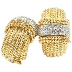 Roberto Coin Diamond Ruby Earrings Yellow Gold 18 Karat