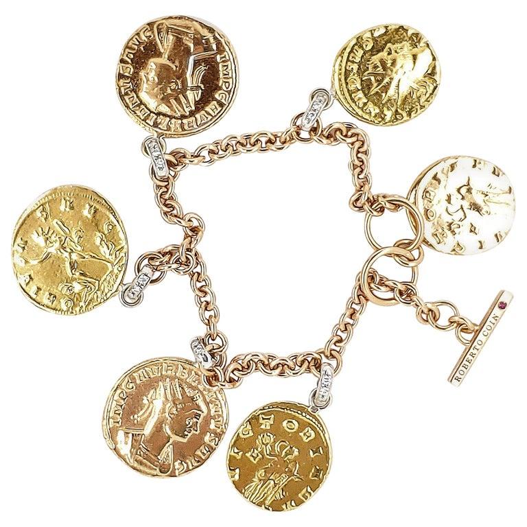 Roberto Coin Diamond Tri-Color Gold 6 Charm Toggle Bracelet For Sale