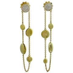 Roberto Coin Diamond Yellow Gold Drop Earrings