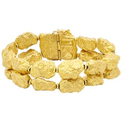 Roberto Coin Double Row 18 Karat Yellow Gold Nuggets Bracelet