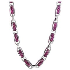Roberto Coin Fantasia 18 Karat White Gold Diamond and Ruby Necklace