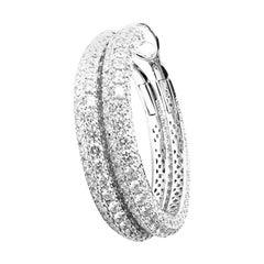 Roberto Coin Fantasia Large Diamond White Gold Hoop Earrings