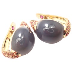 Roberto Coin Fantasia Moonstone Sapphire Yellow Gold Earrings