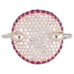 Roberto Coin Fantasia Ring Diamond Pink Sapphire Concave 18 Karat Gold Estate