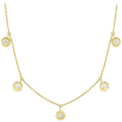 Roberto Coin Five Diamond Drop Station Necklace 530009AYCHX0