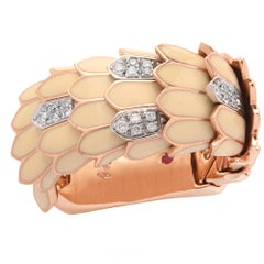 Roberto Coin French Vanilla Enamel and Diamond Ring
