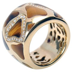 Roberto Coin Giraffe 18 Karat Yellow Gold Diamonds and Tiger Eye Wide Band Ring