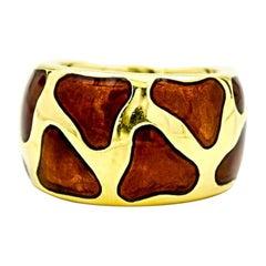 Roberto Coin Giraffe Enamel Band Ring in 18 Karat Yellow Gold