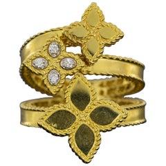 Roberto Coin Gold 0.03 Carat Princess Flower Bypass 3 Flower Ring