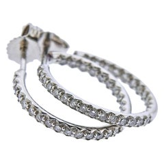 Roberto Coin Gold Inside Out Diamond Hoop Earrings