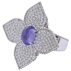 Roberto Coin Gold Princess Flower Diamond Tanzanite Cocktail Ring