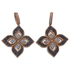 Roberto Coin Gold Venetian Flower Diamond Dangle Earrings