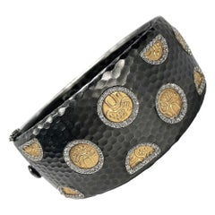 Roberto Coin Hammered Cuff Bracelet with Gold Motifs and Diamonds