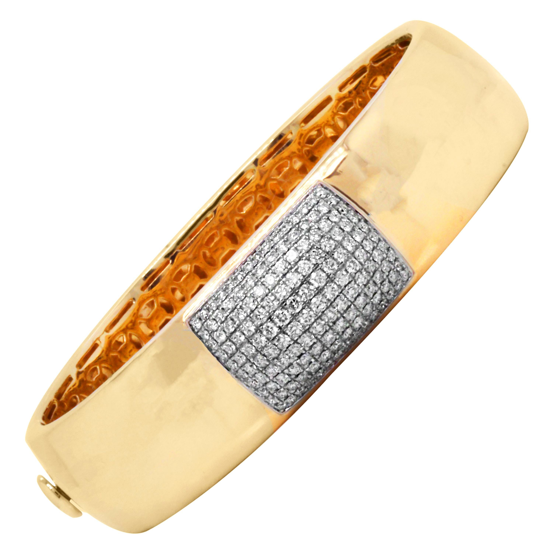 Roberto Coin Hammered Finish Martellato Yellow Gold and Diamond Bangle Bracelet