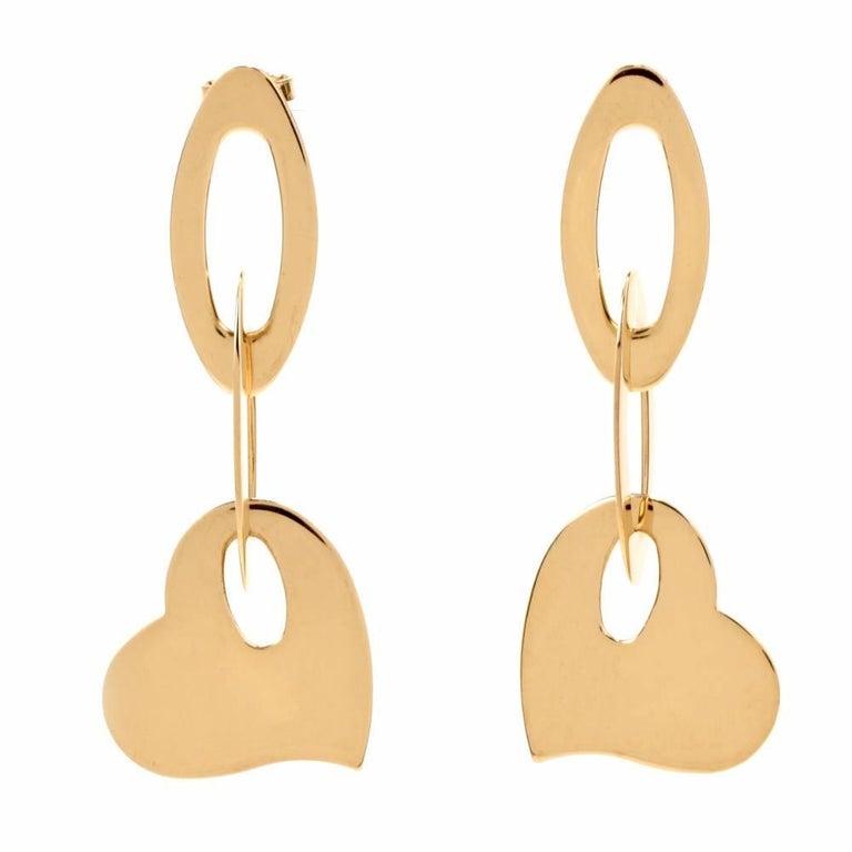 Roberto Coin Heart Dangel Drop Pendant Gold Earrings