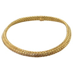 Roberto Coin Heavy 18K Yellow Gold Woven Choker Necklace w/ Sapphire Clasp