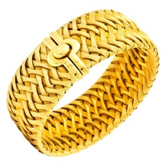 Roberto Coin Italian 18 Karat Yellow Gold Wide Woven Bracelet