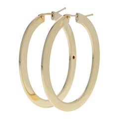 Roberto Coin Large Flat Oval Hoop Earrings 18 Karat Yellow Gold Designer Pierced