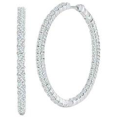 Roberto Coin Large Inside Outside Diamonds Hoop Earrings 001615AWERX0