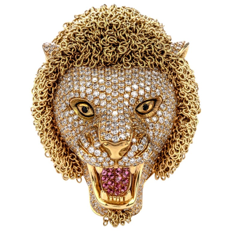 Roberto Coin Lion Masterpiece Diamond 18 Karat Gold Limited Edition Ring For Sale
