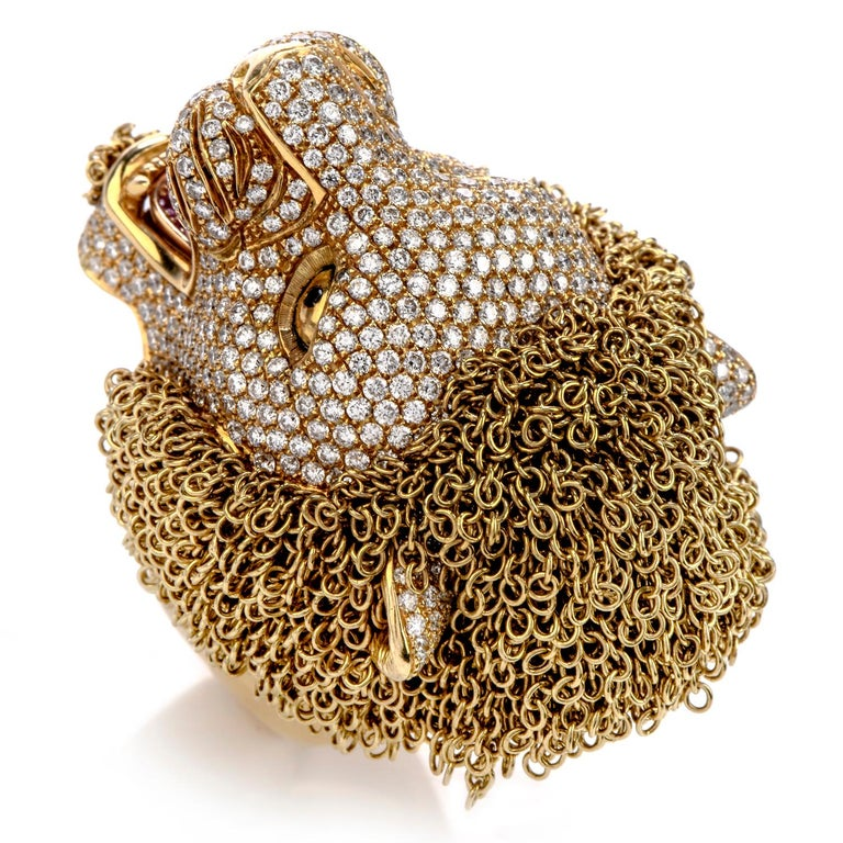 Modern Roberto Coin Lion Masterpiece Diamond 18 Karat Gold Limited Edition Ring For Sale
