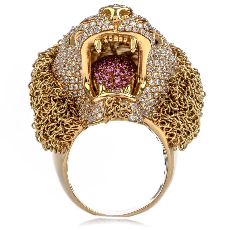 Round Cut Roberto Coin Lion Masterpiece Diamond 18 Karat Gold Limited Edition Ring For Sale