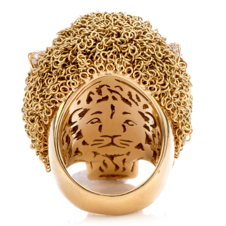 Roberto Coin Lion Masterpiece Diamond 18 Karat Gold Limited Edition Ring In Excellent Condition For Sale In Miami, FL