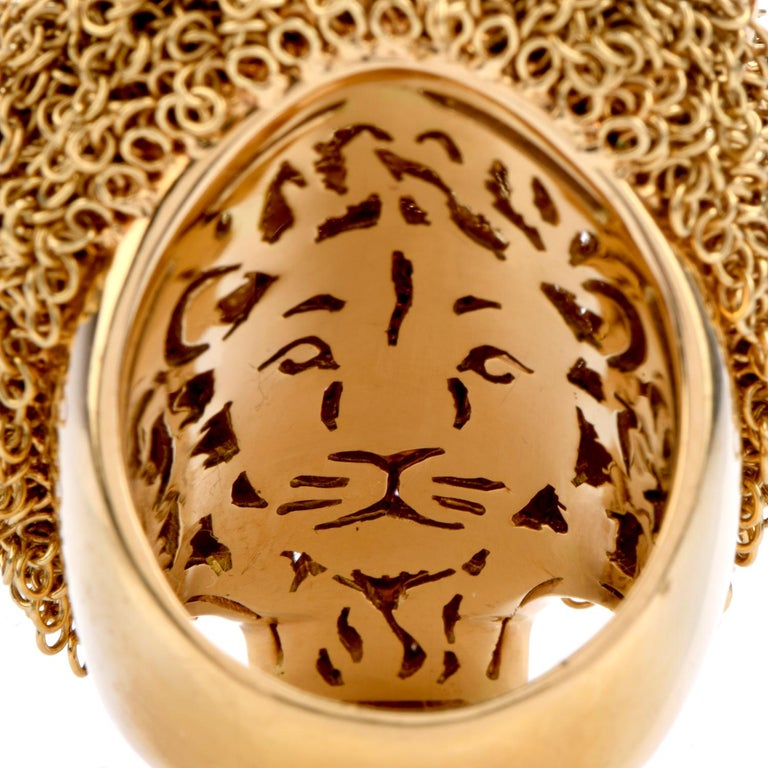Women's or Men's Roberto Coin Lion Masterpiece Diamond 18 Karat Gold Limited Edition Ring For Sale