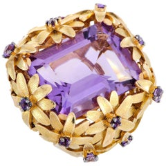Roberto Coin Margherita 18 Karat Yellow Gold and Amethyst Flowers Cocktail Ring