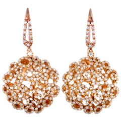 Roberto Coin Mauresque 18 Karat Rose Gold Diamond French Wire Earrings