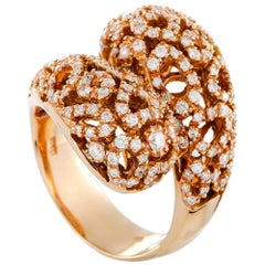 Roberto Coin Mauresque 18 Karat Rose Gold Diamond Bypass Ring
