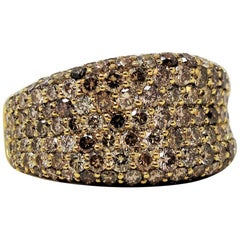 Roberto Coin Multi Row Champagne Diamond Pave Concave Ring 18 Karat Yellow Gold