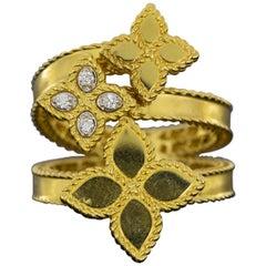 Roberto Coin Gold 0.03ctw Princess Flower Bypass 3 Flower Ring