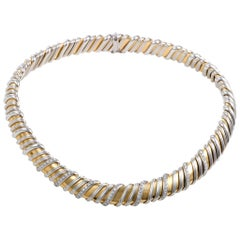 Roberto Coin Nabucco 1.14 ct Diamond 18K White and Yellow Gold Choker Necklace