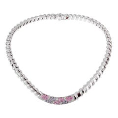 Roberto Coin Nabucco Diamond Pink and Blue Sapphire Necklace
