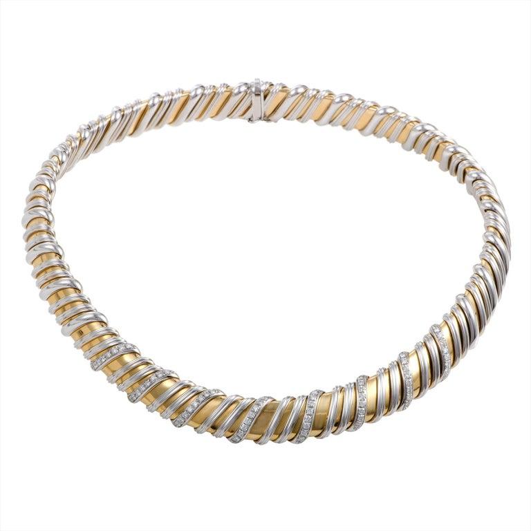 Roberto Coin Nabucco Diamond White and Yellow Gold Choker Necklace