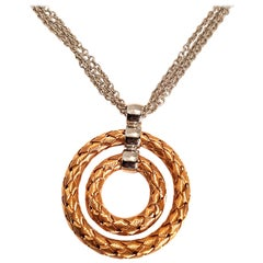 Roberto Coin Necklace 5Two Collection with Silver and Golden Circular Pendant
