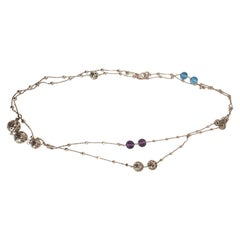 Roberto Coin Necklace Ten Skyline Silver, Amethyst and Topaz with Ruby Signature