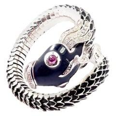 Roberto Coin Nemo Diamond & Ruby Enamel White Gold Bangle Bracelet