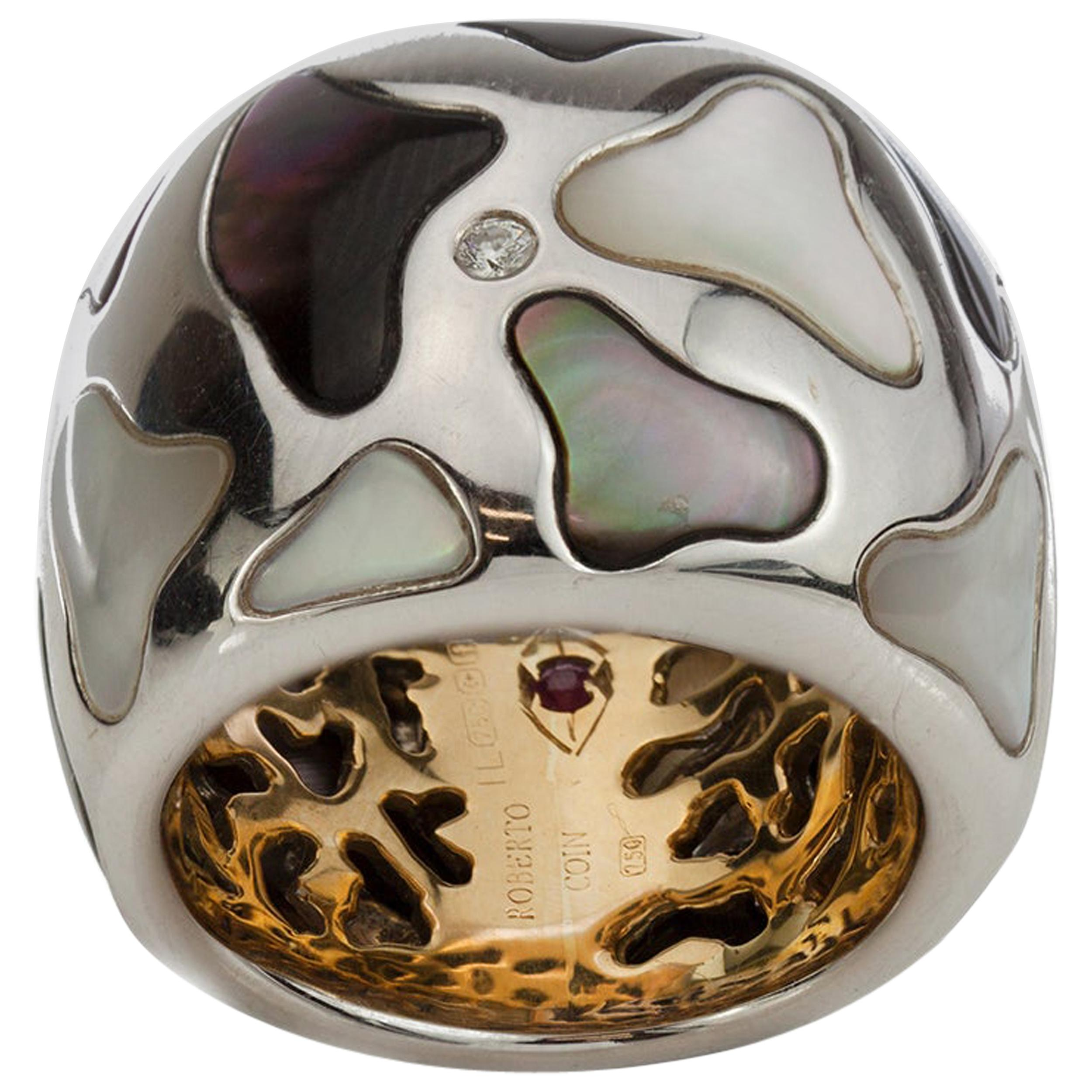 Roberto Coin Panda 18 Karat White and Yellow Gold Onyx and Mother of Pearl Ring