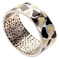 Roberto Coin Panda 18 Karat White Gold and Enamel Bangle